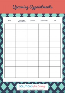 Keep track up upcoming and recurring appointments with this handy tracker.