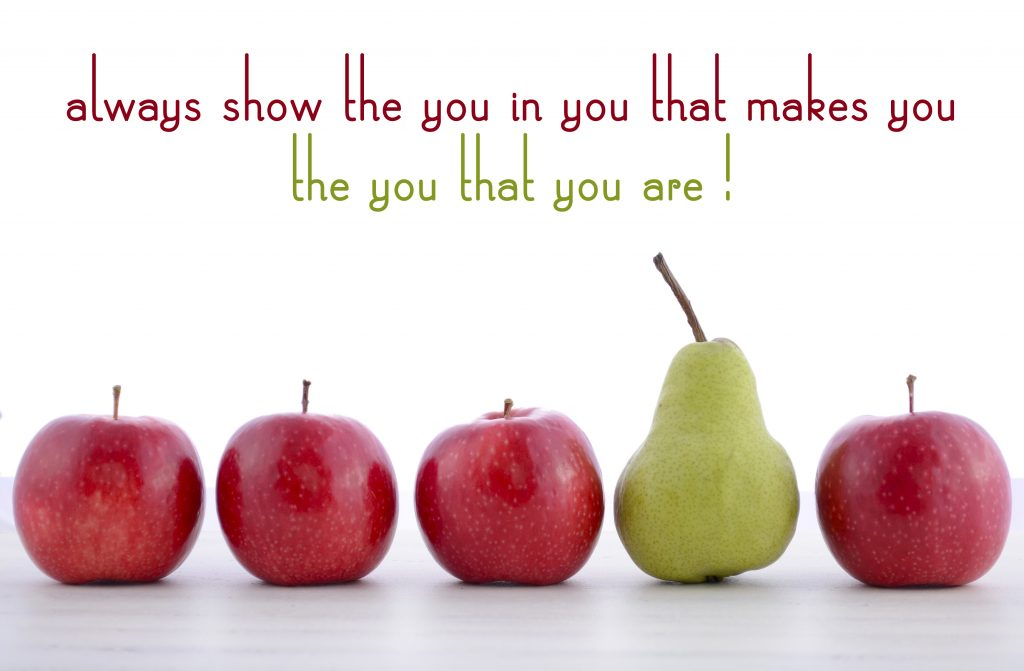 Row of fruit with Always Show the You in You quote concept.